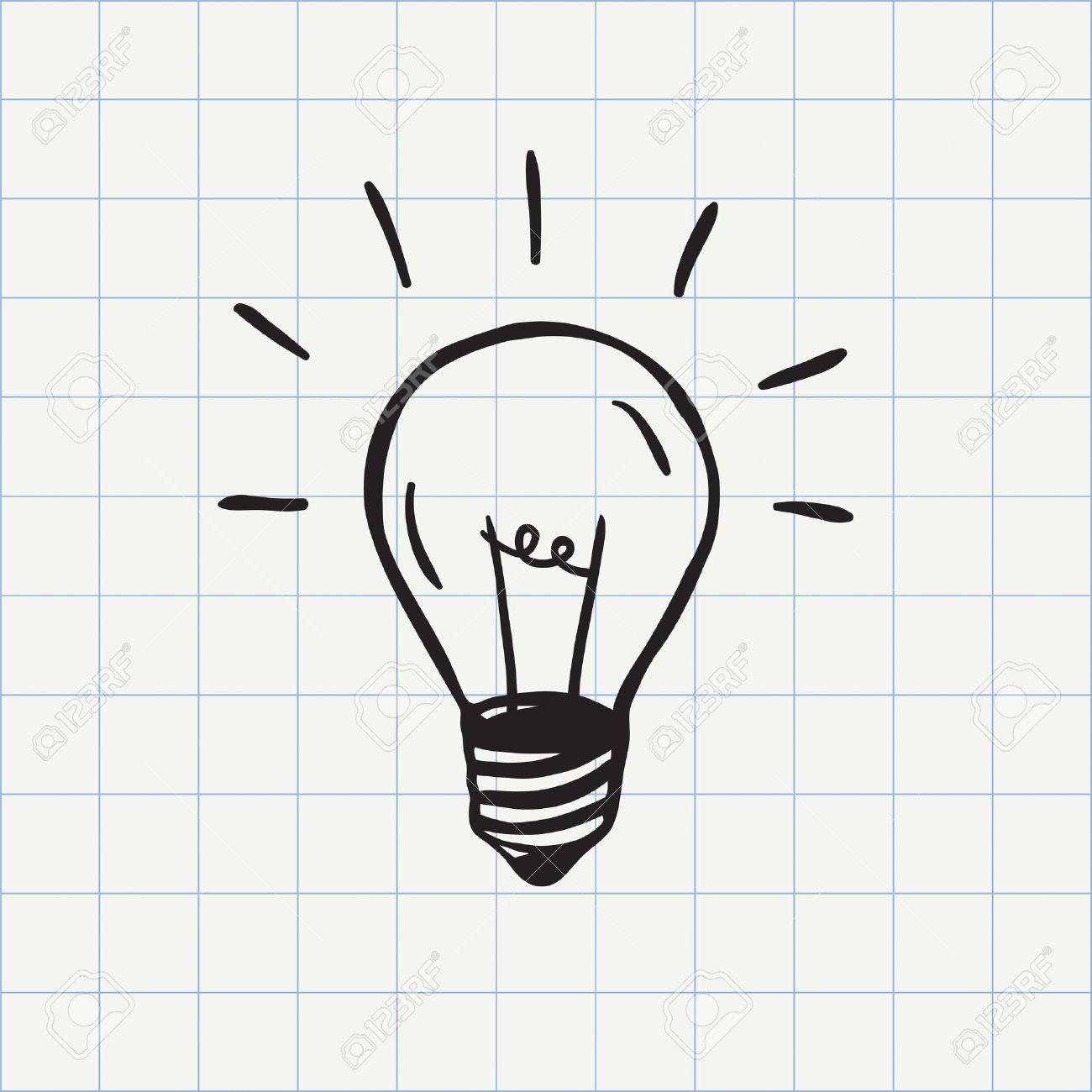 Light Bulb Icon Idea Symbol Sketch In Vector. Hand-drawn Doodle ...
