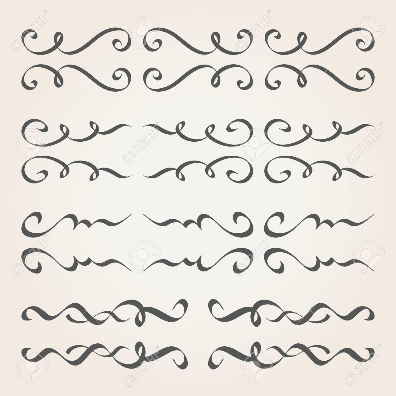 Elementos Caligráficos Y Decoración De Página. Separadores Vintage ...