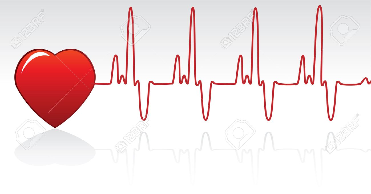 vector red heart and heartbeat Stock Vector - 5966305