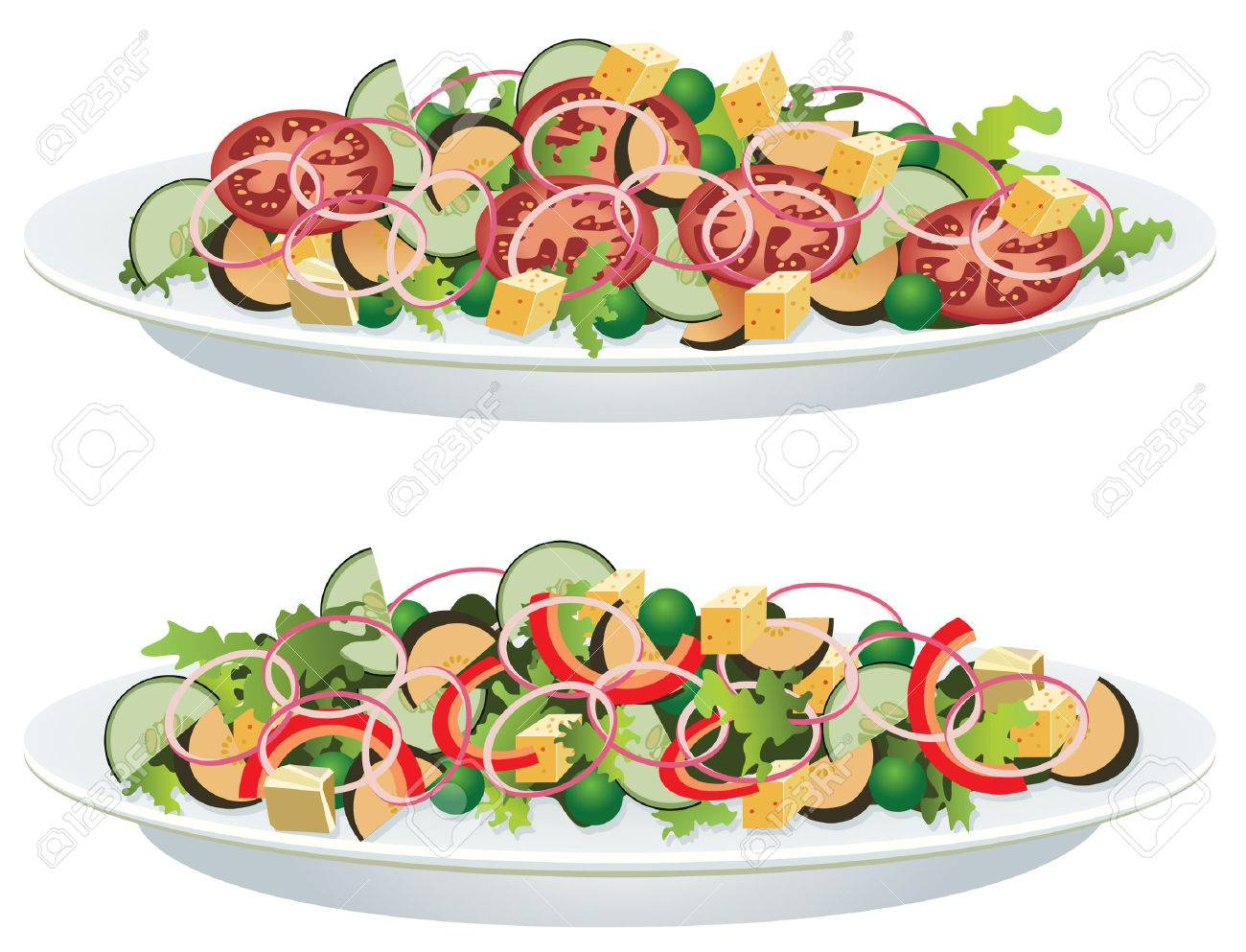 vector vegetable salads on a plate Stock Vector - 6338683
