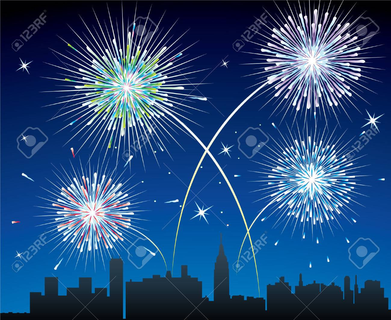 fireworks over a city Stock Vector - 6485999