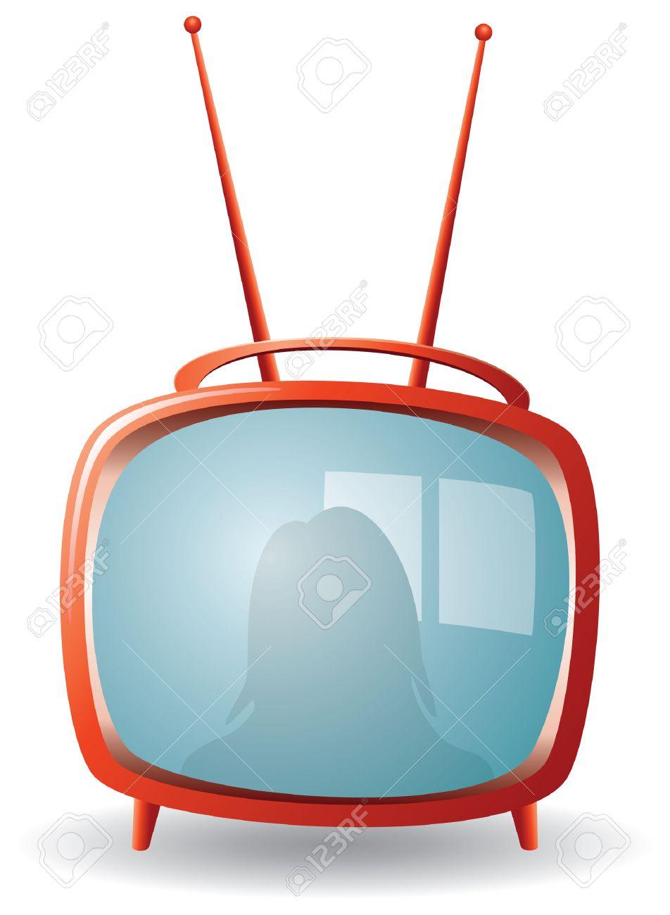 red retro tv set Stock Vector - 6599601