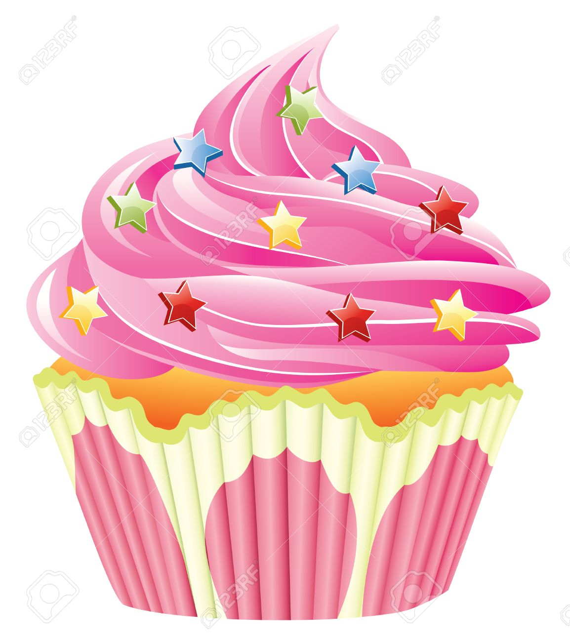 pink cupcake with sprinkles Stock Vector - 7334002