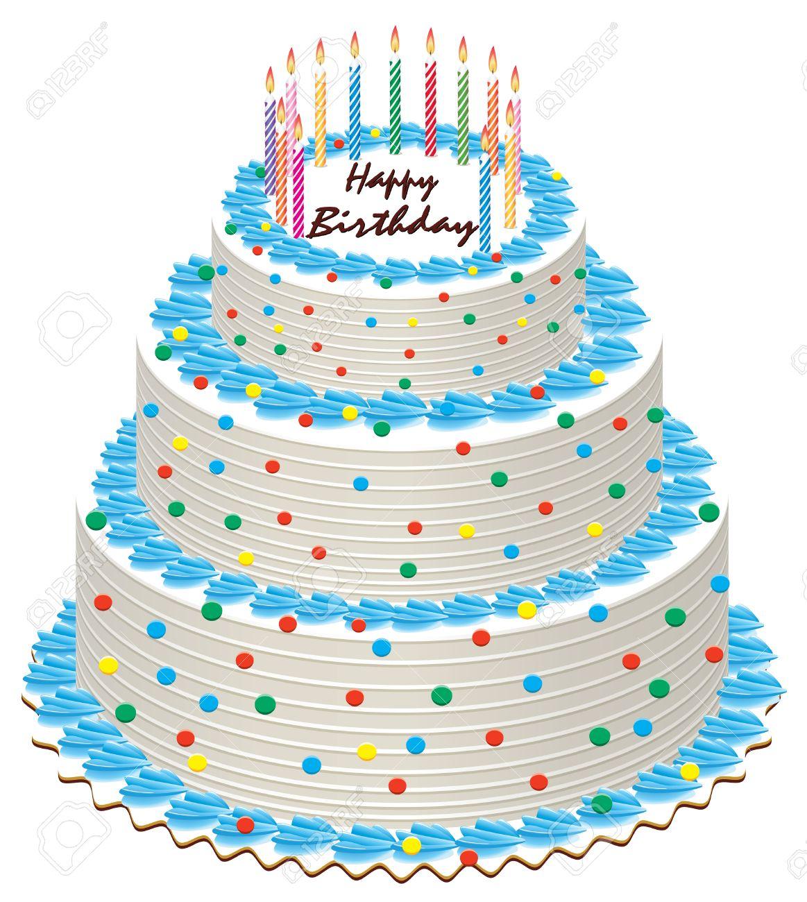 Big Illustration Of Birthday Cake With Burning Candles Royalty