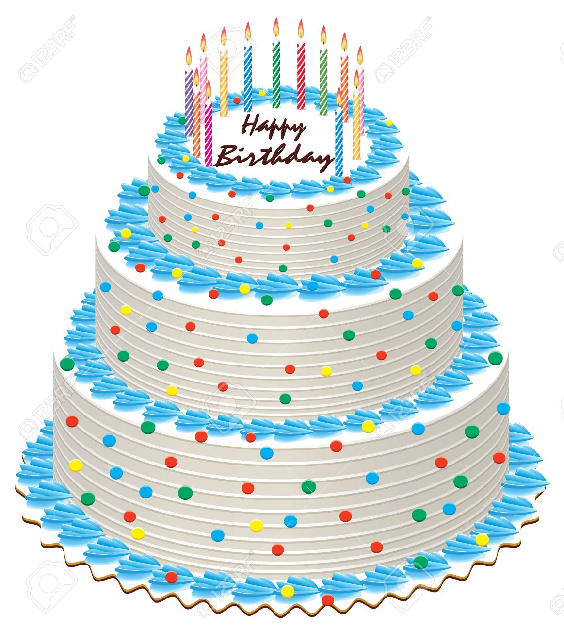 Big Illustration Of Birthday Cake With Burning Candles Stock Vector