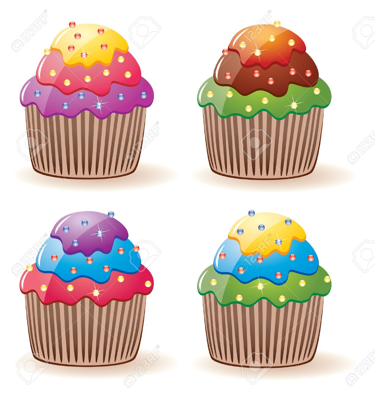 vector colorful cupcakes with sprinkles Stock Vector - 7420080