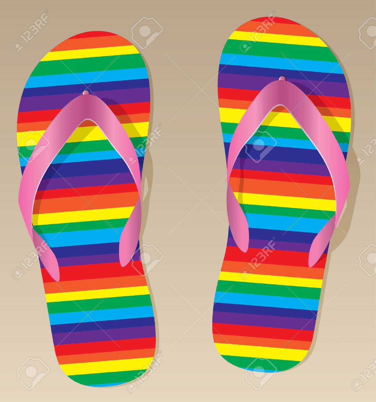 pair of flip flops on the sand Stock Vector - 7696869