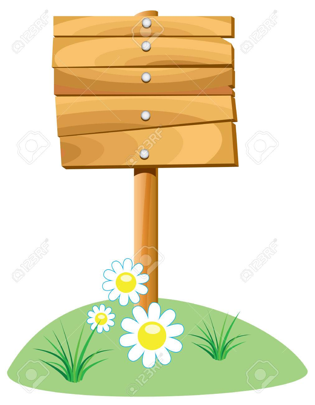 wooden element and grass Stock Vector - 7782178