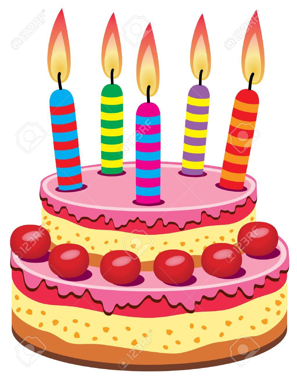 Bougie Anniversaire gâteau d'anniversaire avec des bougies allumées clip art libres de