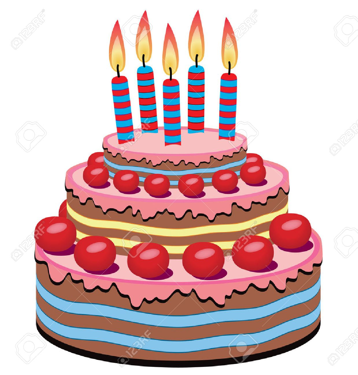 birthday cake with burning candles Stock Vector - 8026854