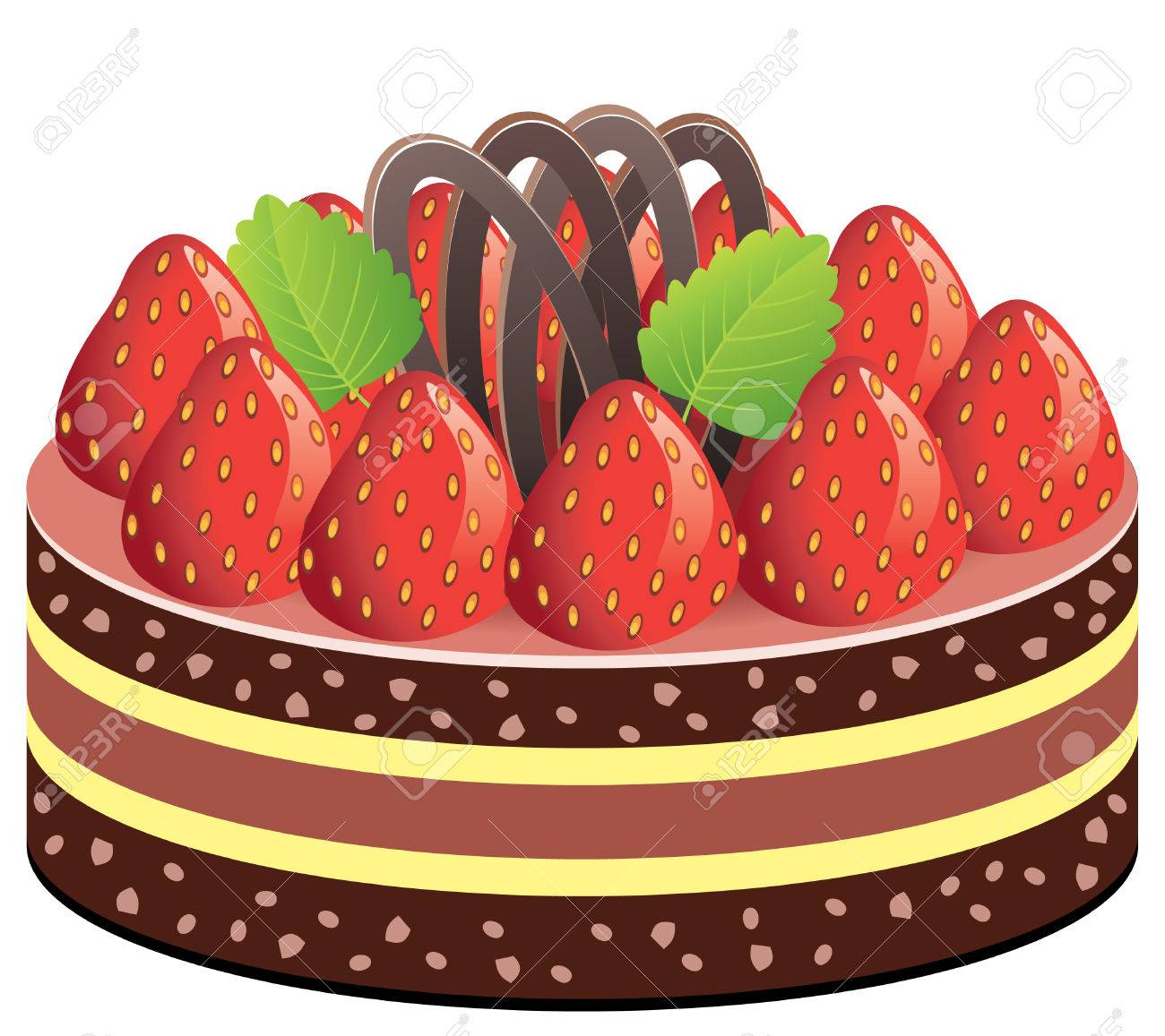 cake with strawberry and chocolate Stock Vector - 8088202