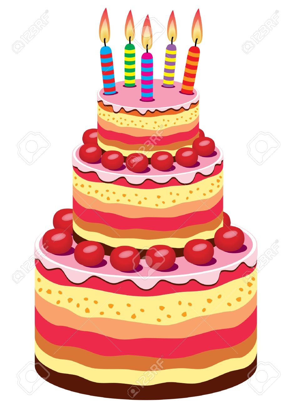 Big Birthday Cake With Burning Candles And Fruits Stock Vector