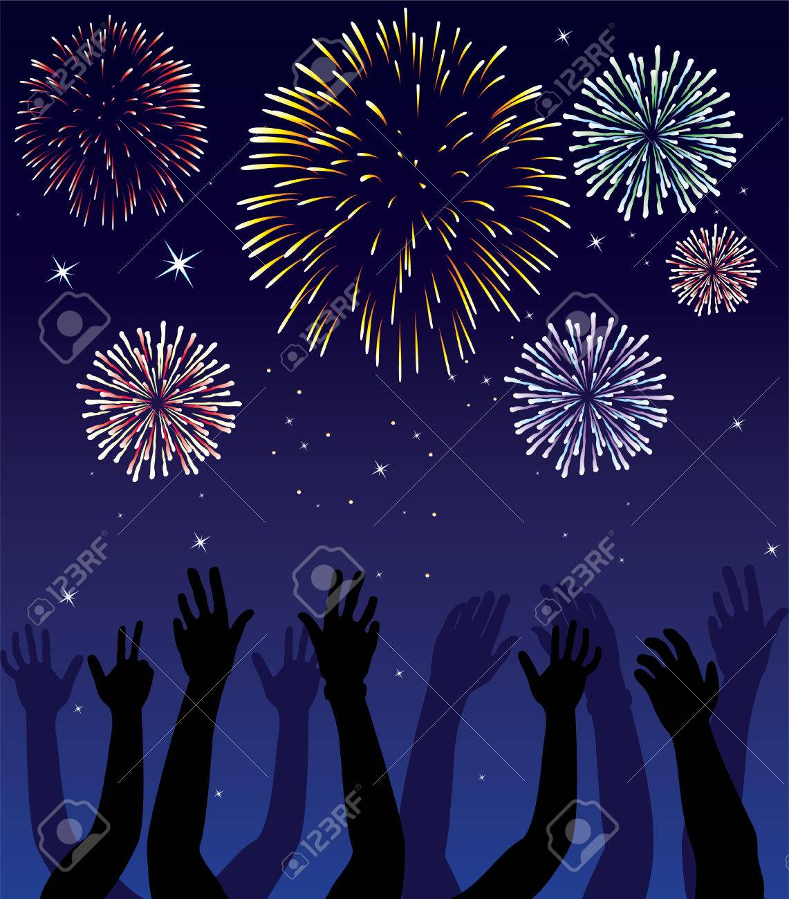 fireworks and hands on blue background Stock Vector - 8145236