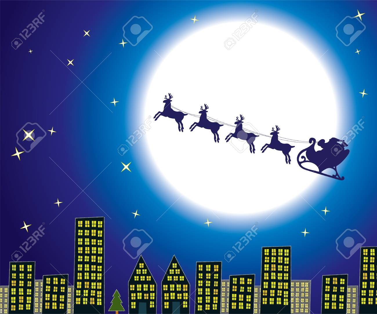 urban holiday background with santa Stock Vector - 8219583