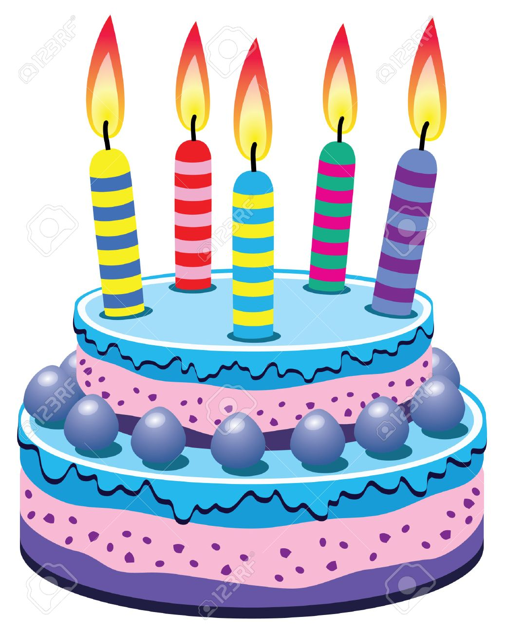 Vector Birthday Cake With Burning Candles Royalty Free Cliparts