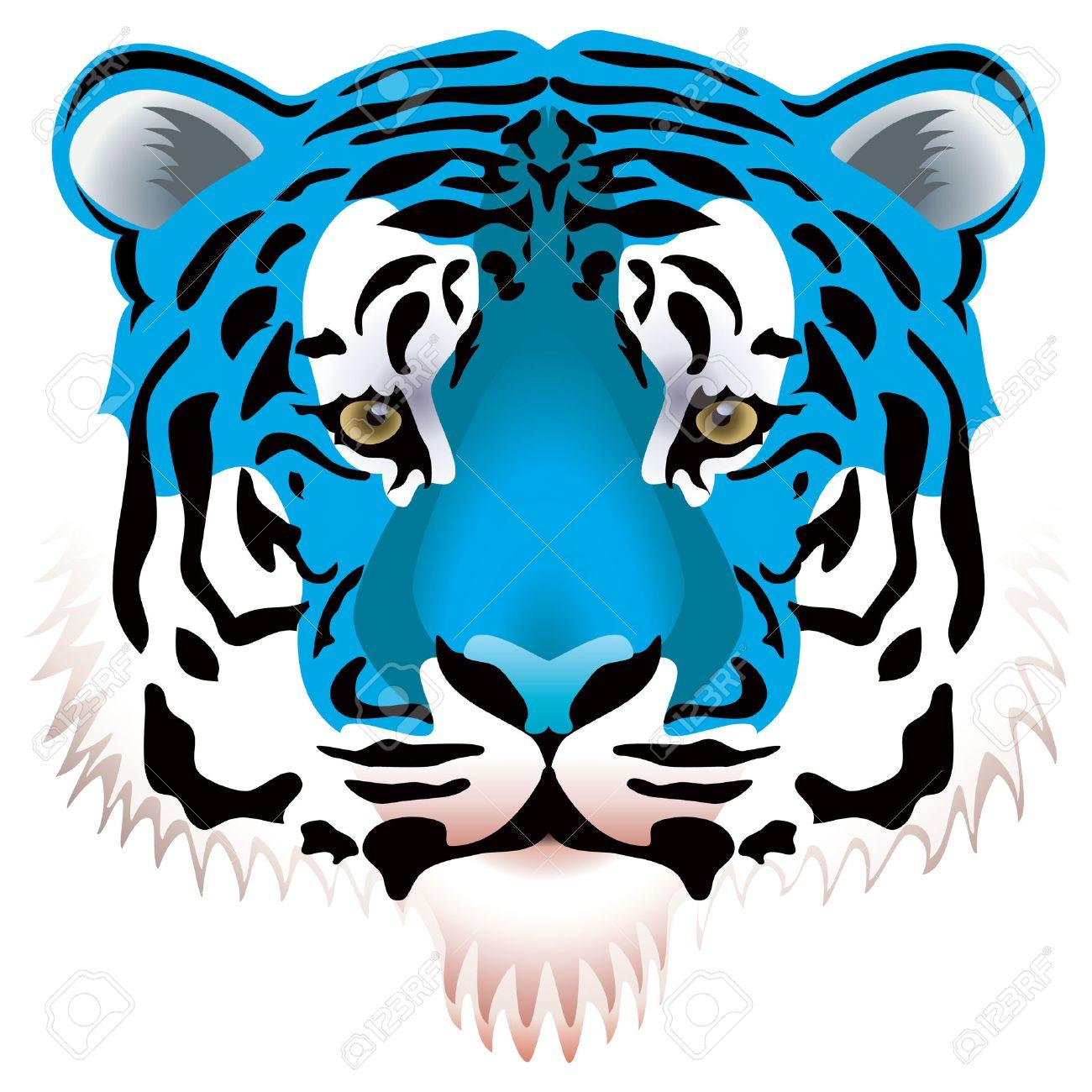 vector illustration of blue tiger head Stock Vector - 8486998