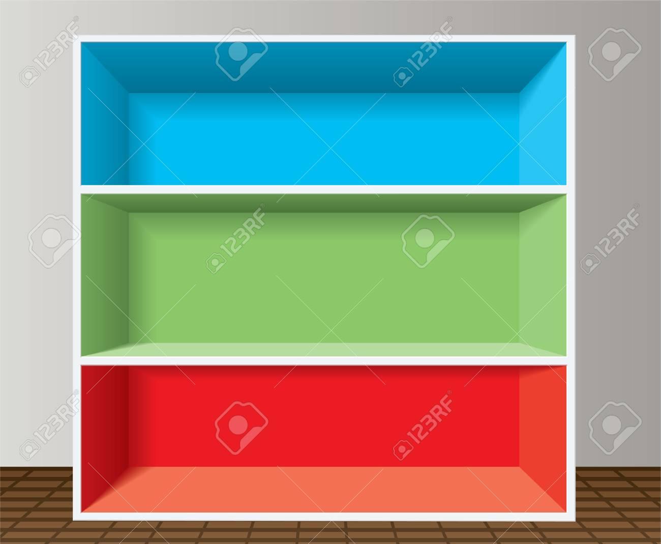 colorful empty bookshelf Stock Vector - 8492396