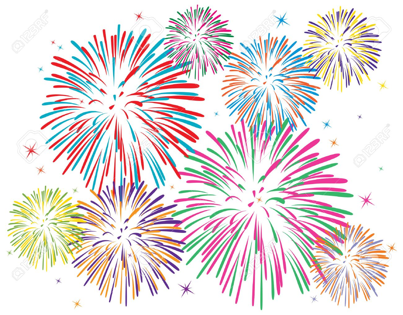 Colorful Fireworks On White Background Royalty Free Cliparts Vectors And Stock Illustration Image 8492402