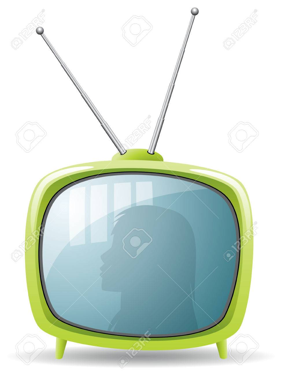 vector green retro tv set - 8492735