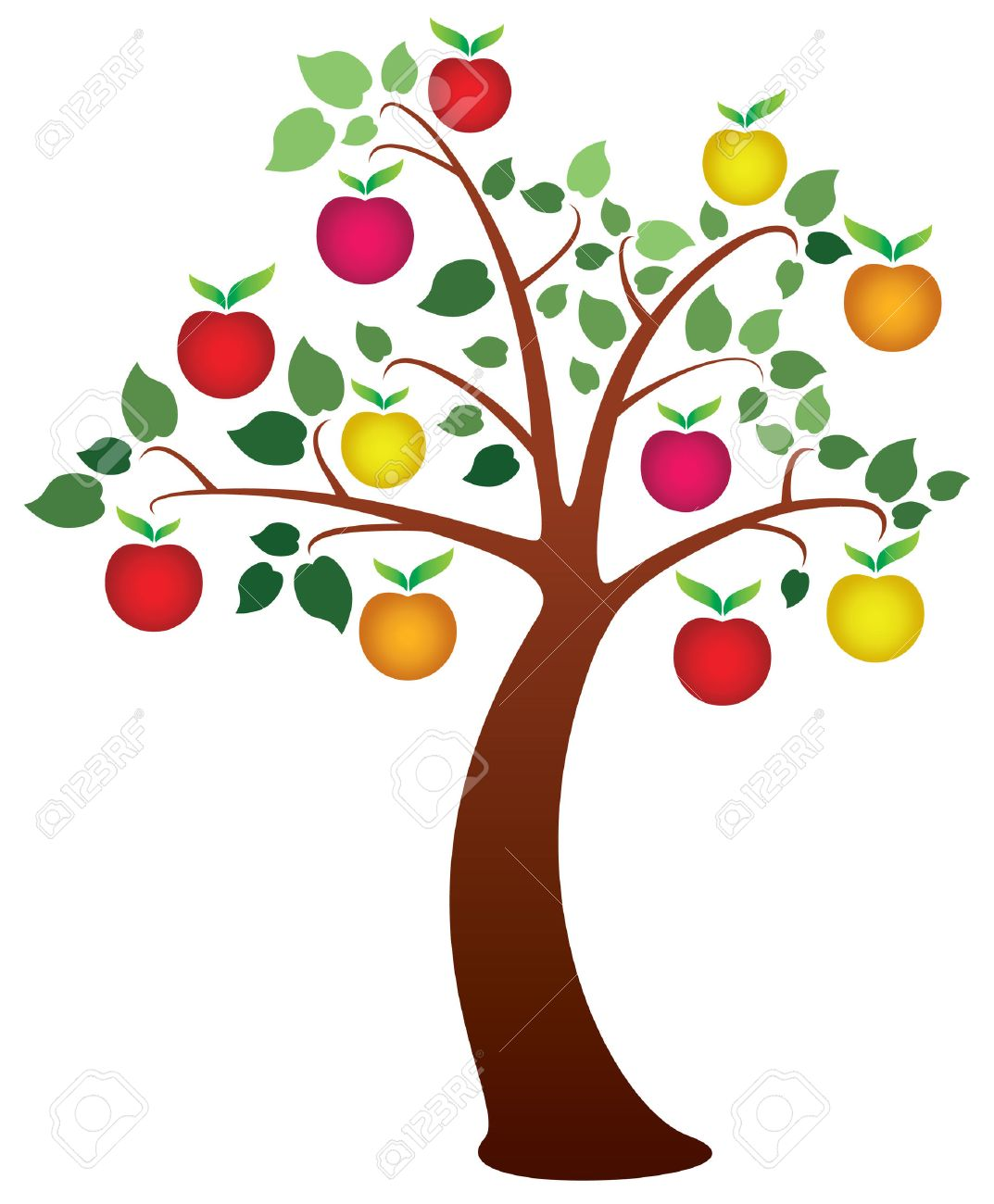 Lovely Tree With Fruits Part - 9: Vector Apple Tree With Fruits Stock Vector - 8509763