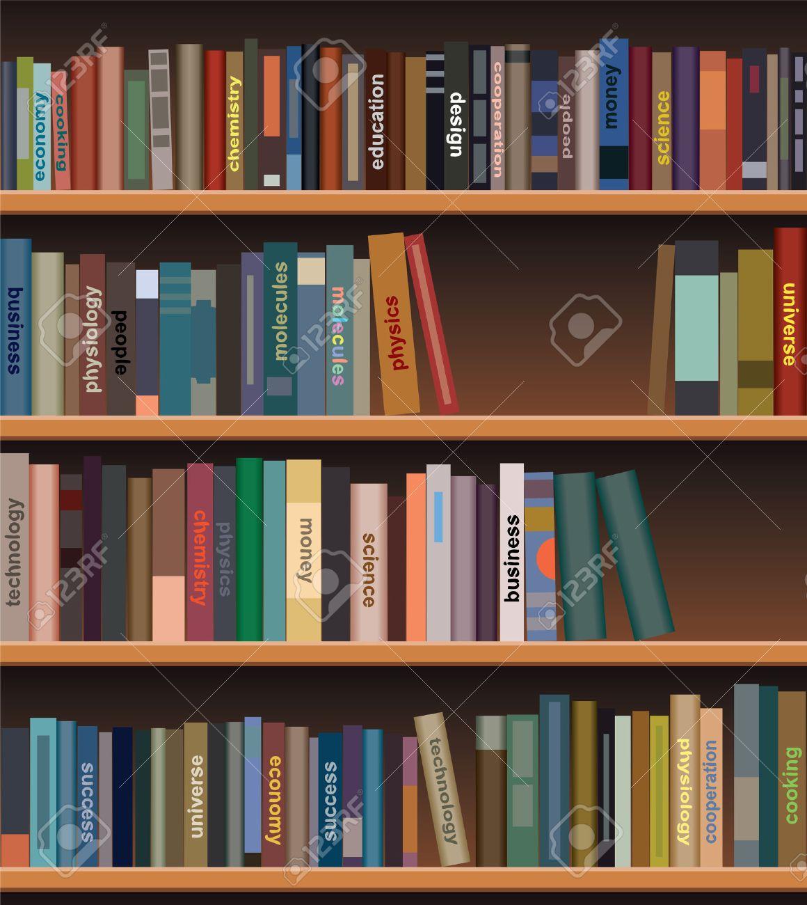 foto de archivo estantera de madera con libros