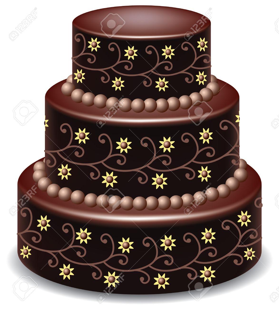 vector big delicious chocolate cake - 8926714
