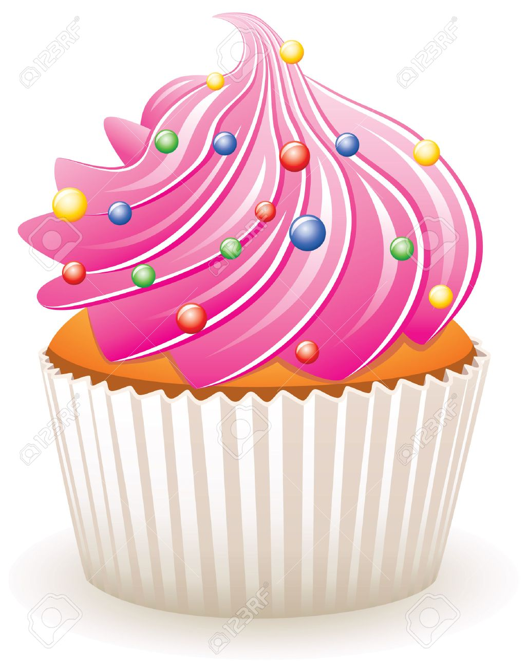 vector pink cupcake with colorful sprinkles Stock Vector - 8926589