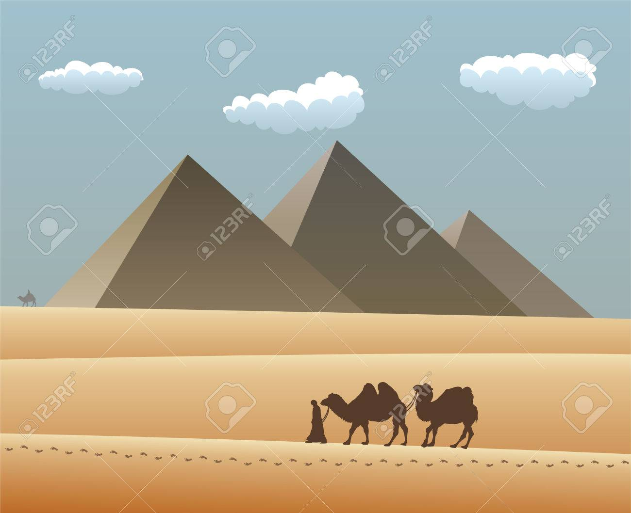 camels and bedouin in desert with egyptian pyramides Stock Vector - 8977830