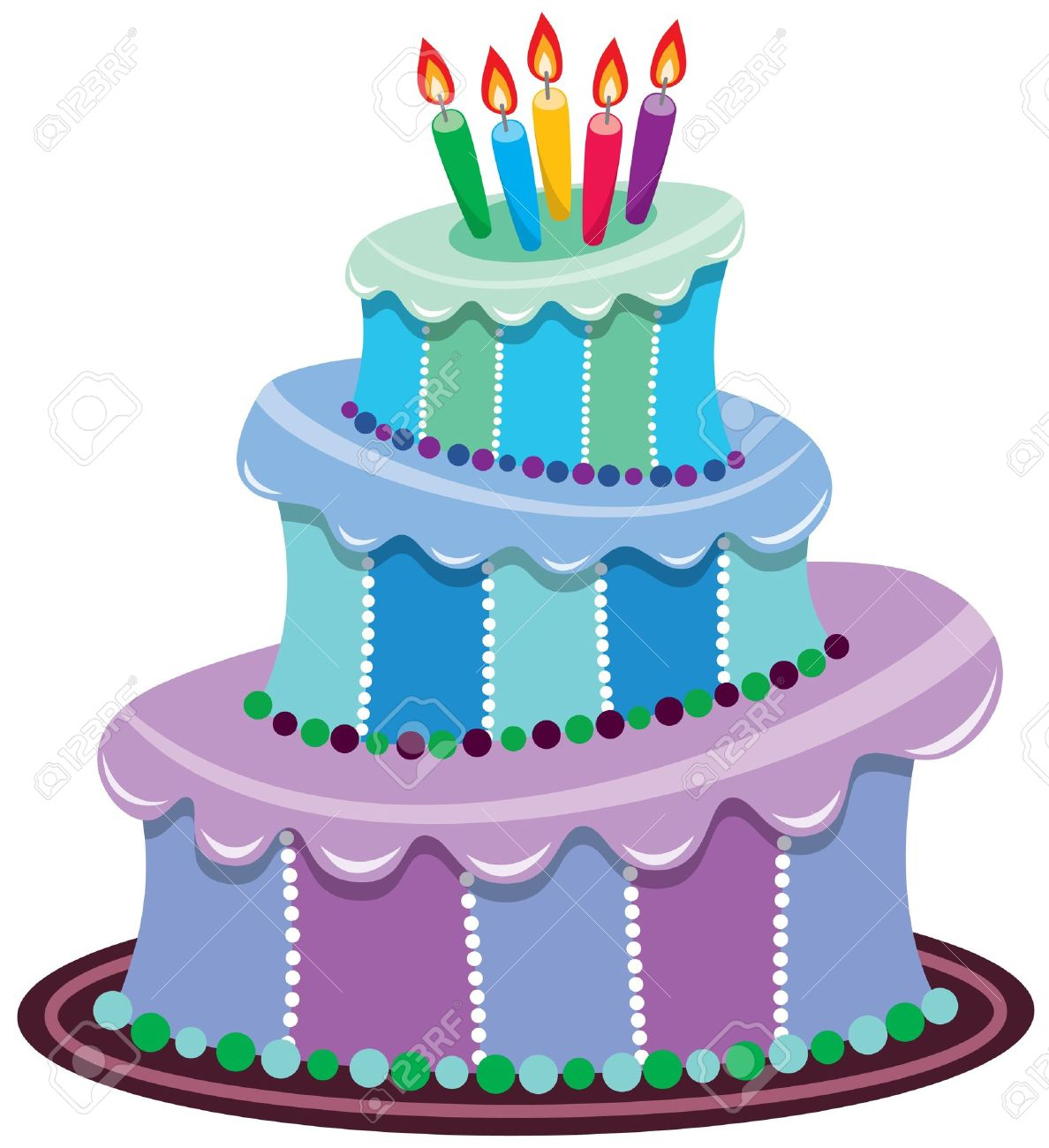 Big Birthday Cake With Burning Candles Stock Vector