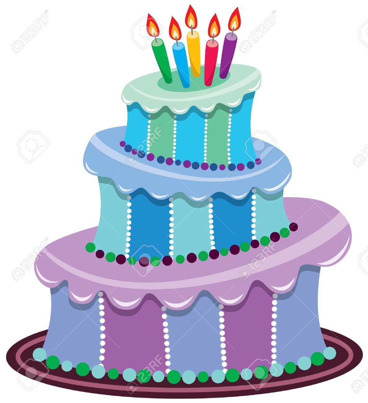 Grosse Geburtstagstorte Mit Brennende Kerzen Lizenzfrei Nutzbare