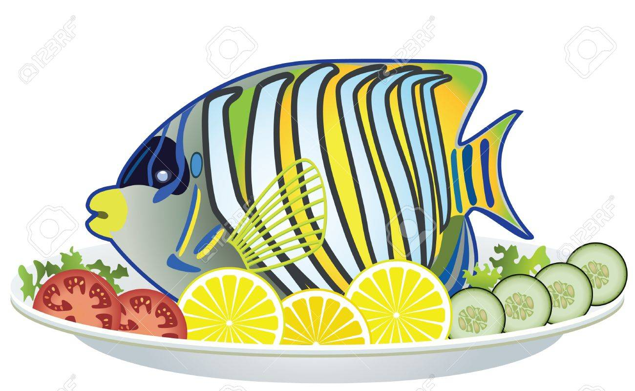 cooked fish and raw vegetables on a plate Stock Vector - 9259004