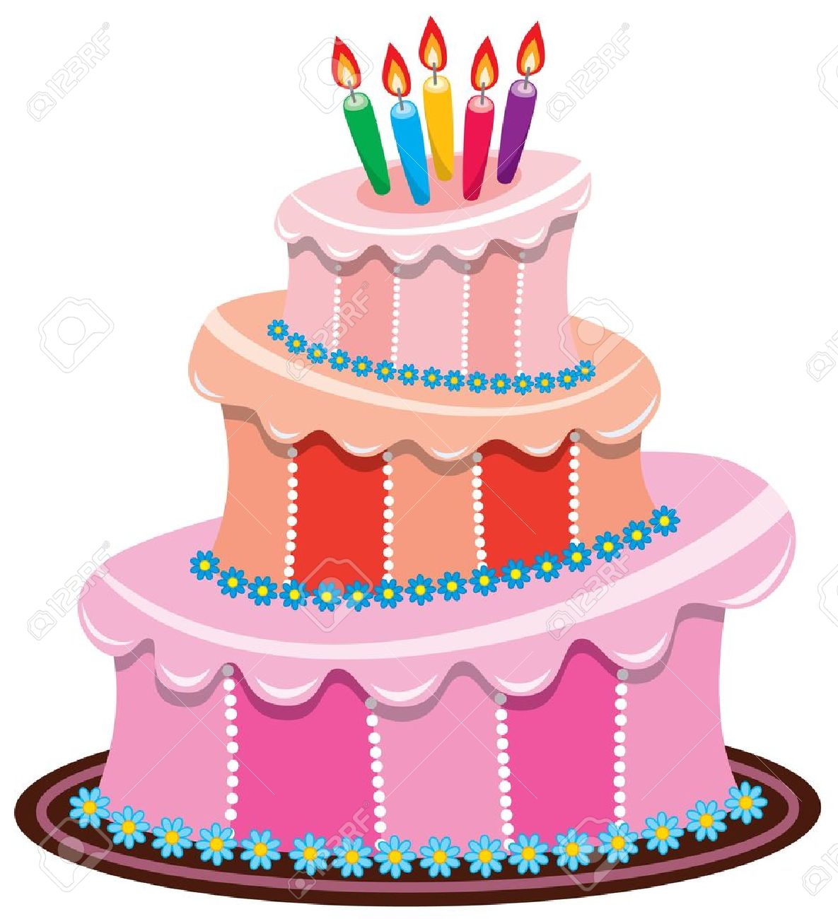 Vector Big Birthday Cake With Burning Candles Royalty Free Cliparts