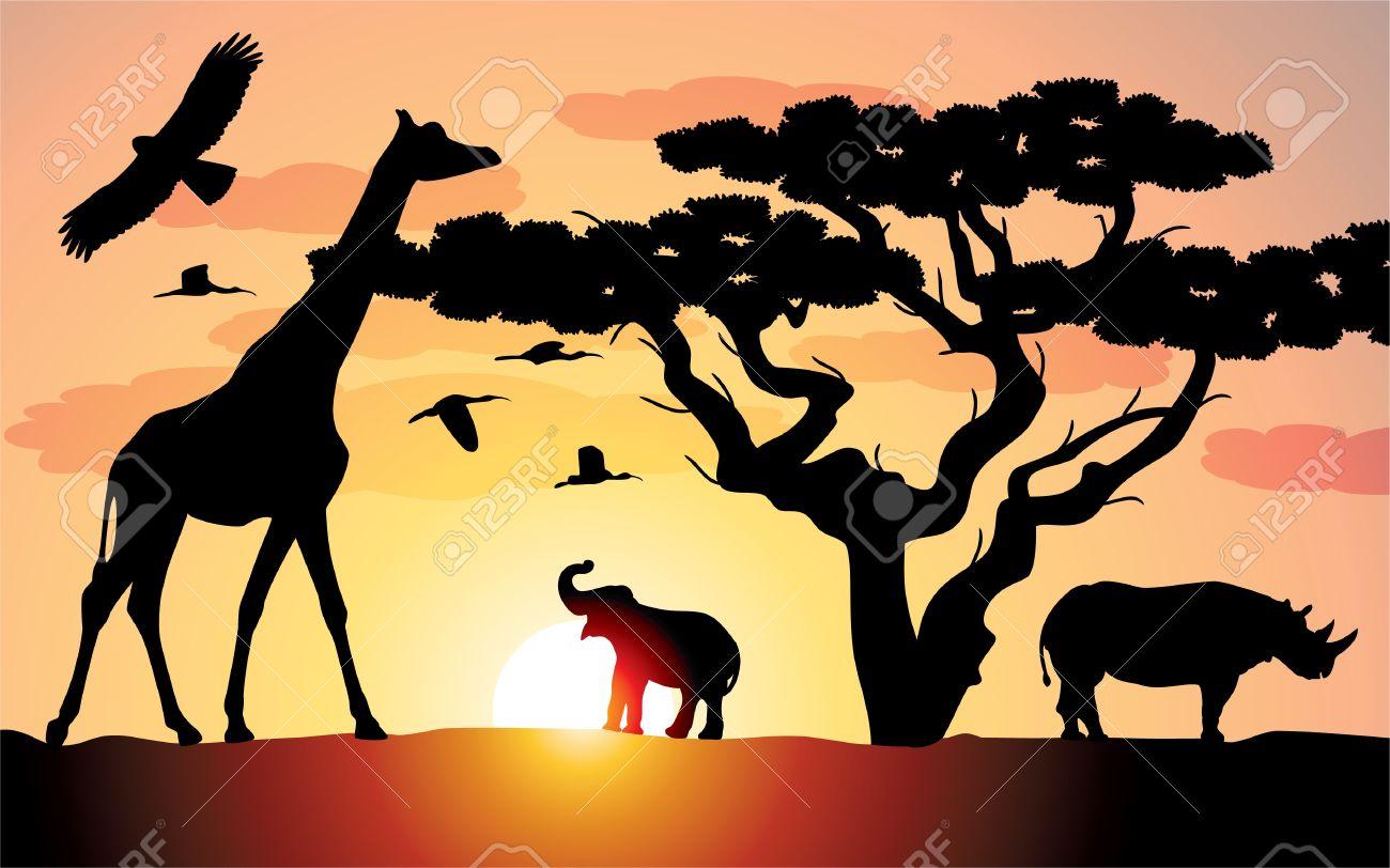 giraffe, rhinoceros and elephant in africa Stock Vector - 9359103