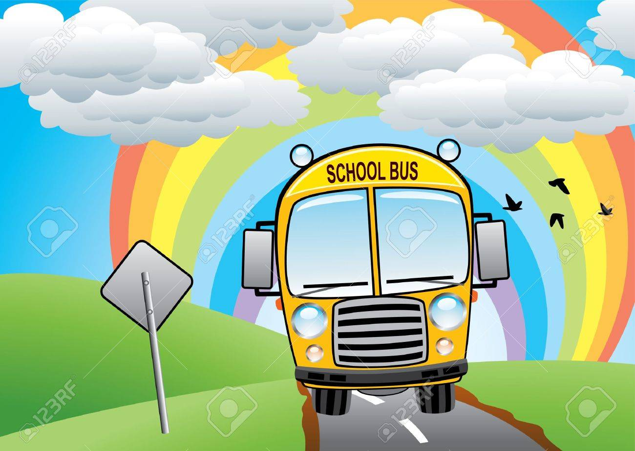 yellow school bus on the road Stock Vector - 9359078
