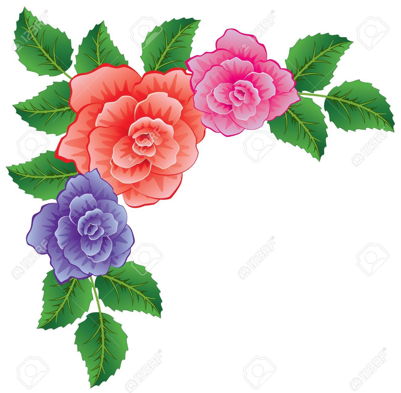 vector background of colorful roses with leaves Stock Vector - 9511860