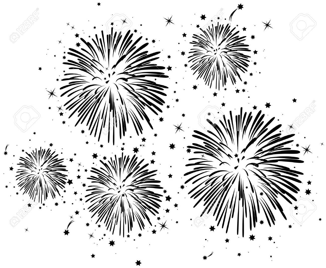 vector black and white fireworks background with stars Stock Vector - 9511858