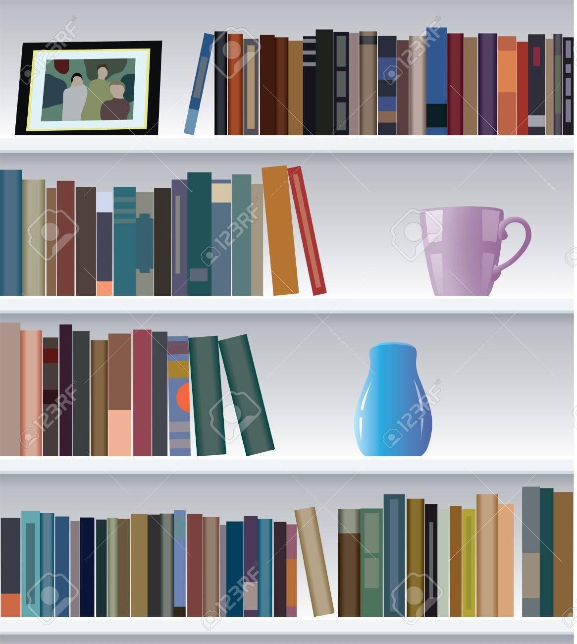 modern bookshelf Stock Vector - 9571680