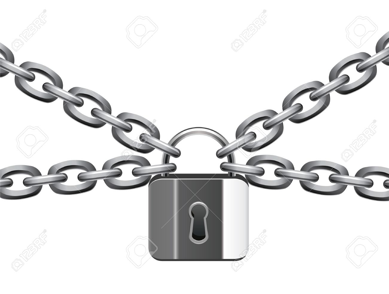 vector illustration of metal chain and padlock - 9653607