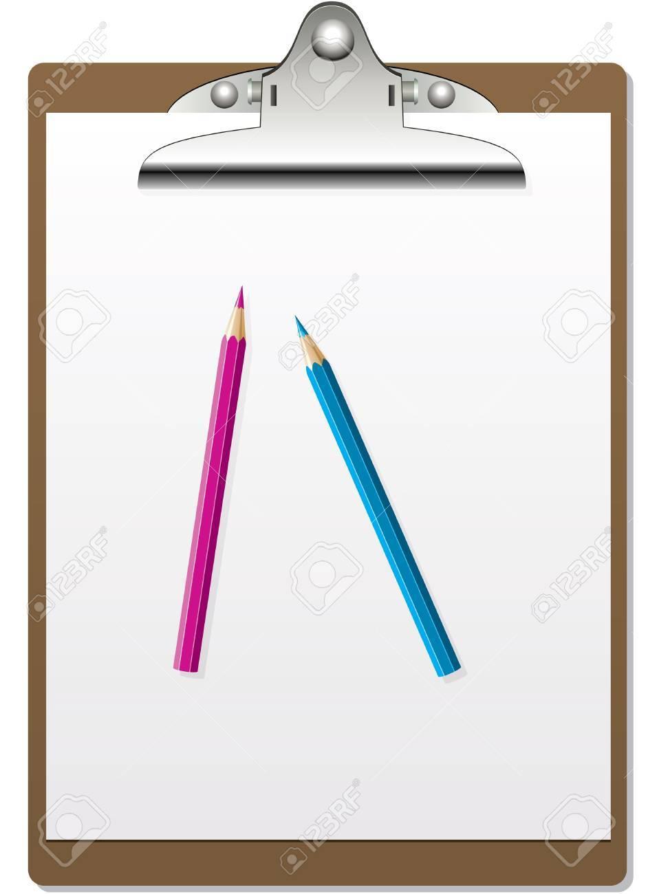 vector clipboard and pencils Stock Vector - 9808041