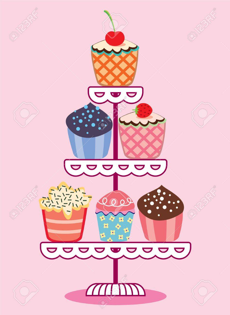vector set of fruit and chocolate cupcakes on a stand Stock Vector - 9808039