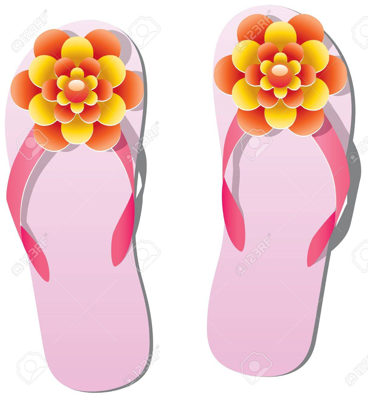 Pair Of Flip Flops With Flowers Royalty Free Cliparts Vectors And