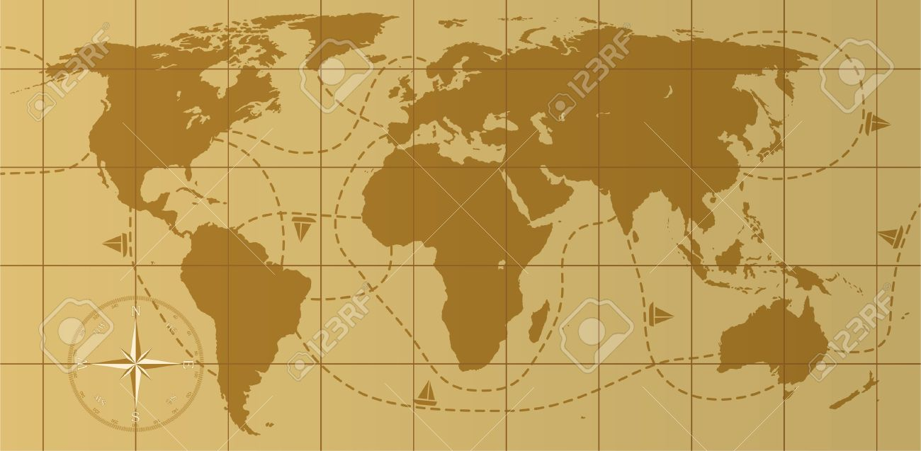 Retro World Map With Comp Rose Stock Vector 9924279