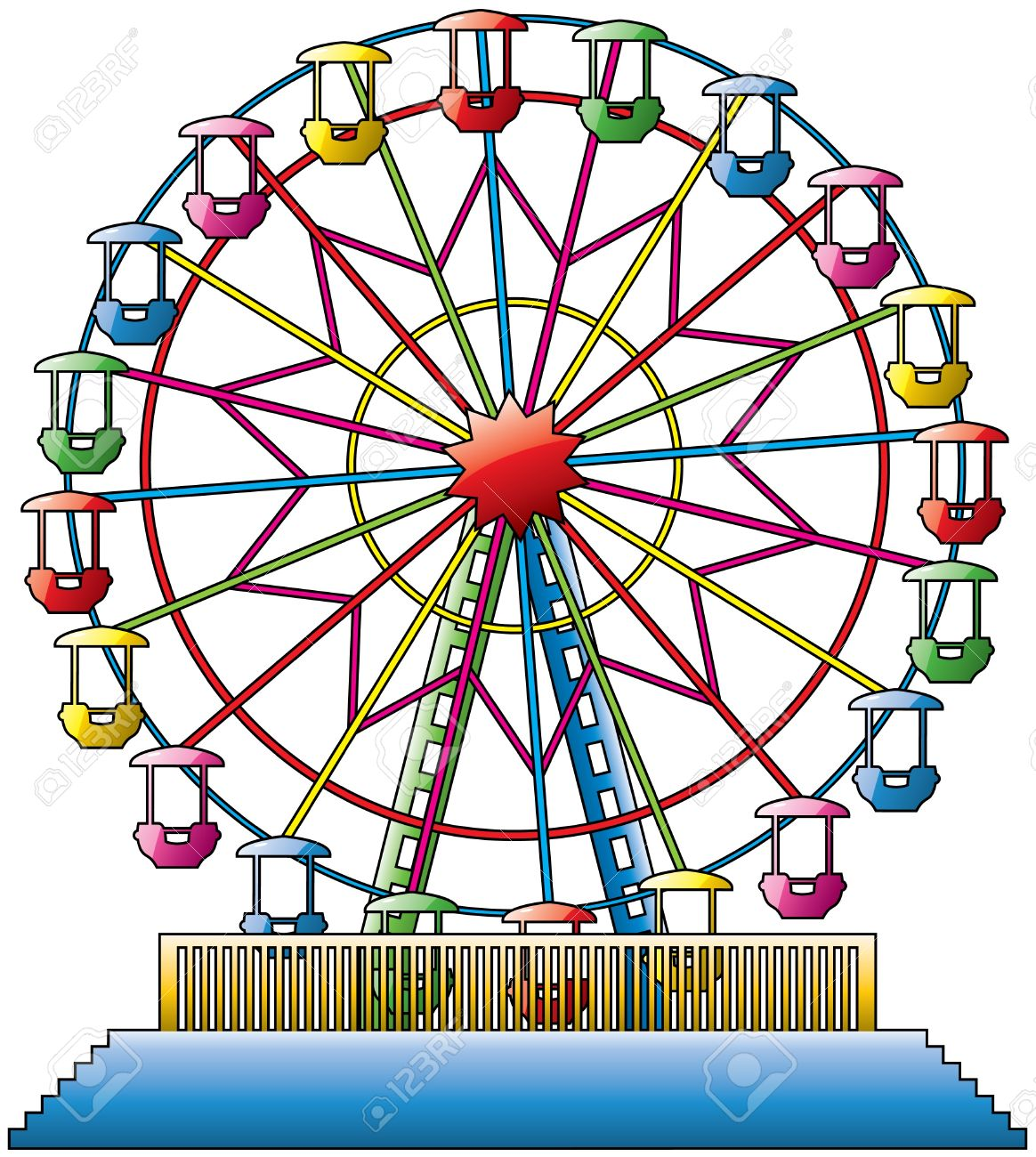 vector illustration of colorful ferris wheel Stock Vector - 10036541