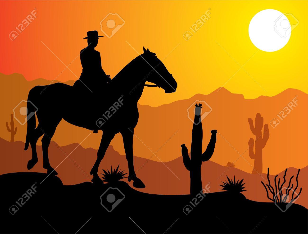 vector man on the horse in desert at sunrise or sunset Stock Vector - 10036531