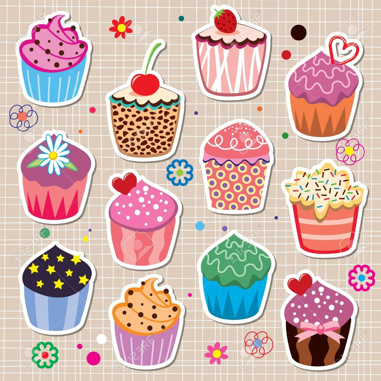 set of colorful cupcakes Stock Vector - 10099132