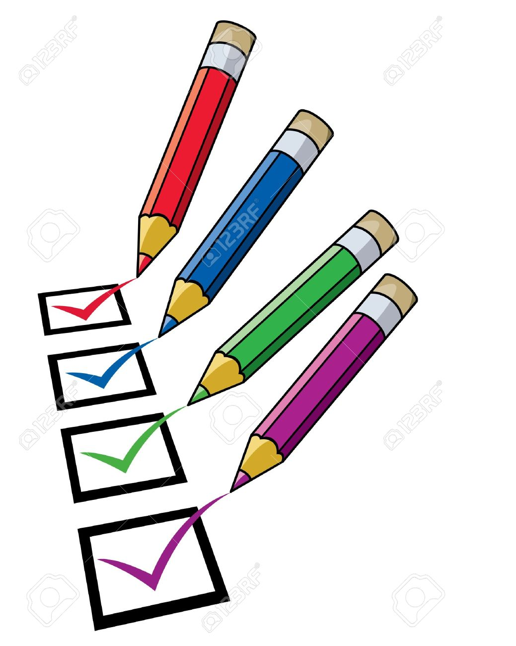 pencils and checklist royalty free cliparts, vectors, and stock
