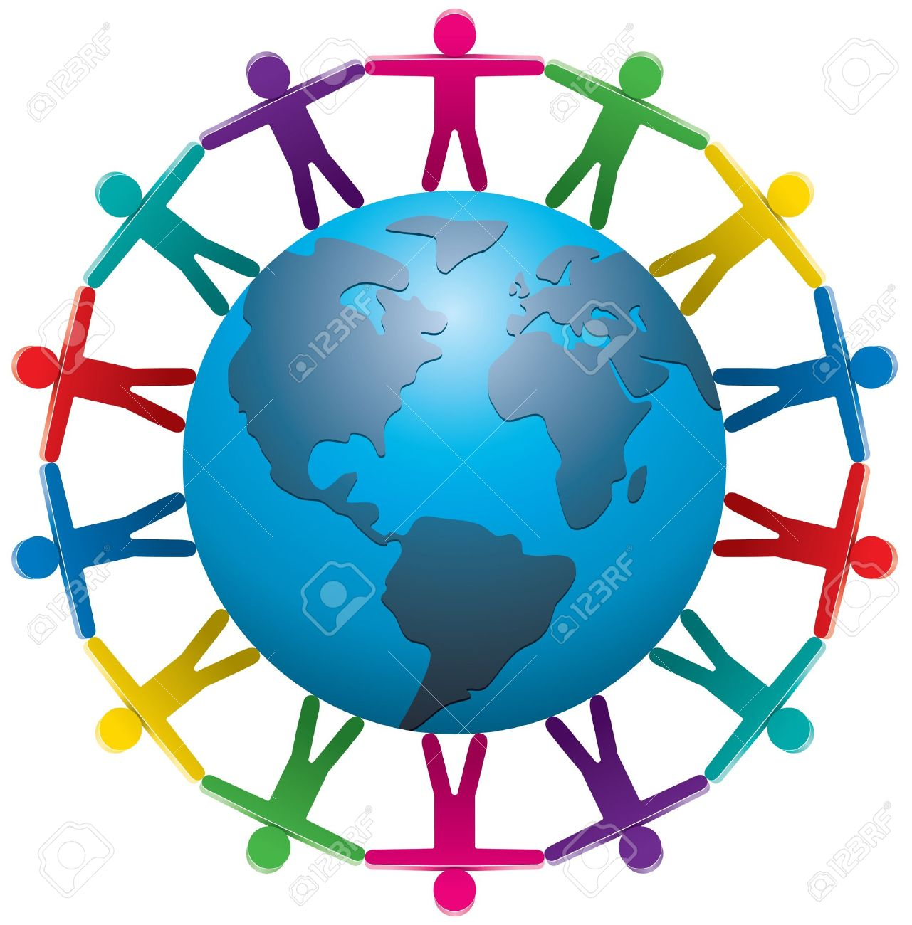 illustration of people around the world - 10190605
