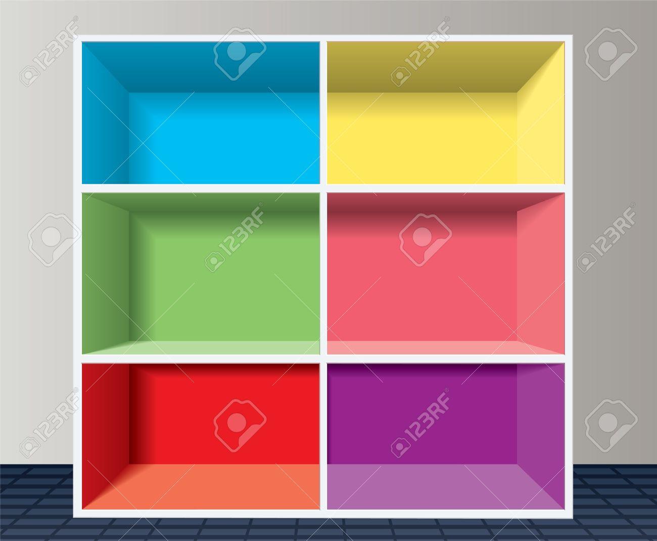 colorful empty bookshelf Stock Vector - 10190651