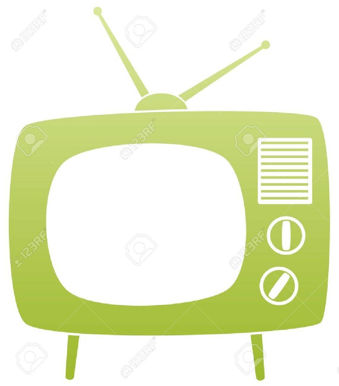 symbol of green retro tv set - 10190592