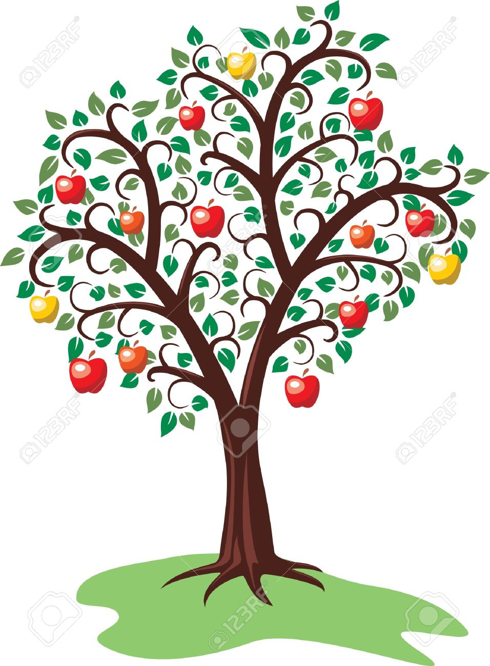 Attractive Tree With Fruits Part - 3: Design Of Apple Tree With Fruits Stock Vector - 10222832